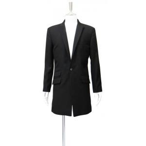 チェスターコート メンズ 黒 シングル ロング ジャケット メンズ コート スーツ フォーマル ブランド サイズM 46|queenandking