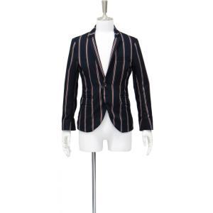 メンズ ジャケット カジュアル スーツ 柄 ショート テーラード 紺 ネイビー 赤 白 ストライプ  シングル ジャケット ブランド フォーマル Sサイズ 44|queenandking