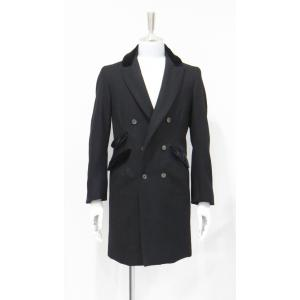 チェスターコート カシミヤ ロング メンズ コート ダブル ウール 黒 ベルベット サイズS 44|queenandking
