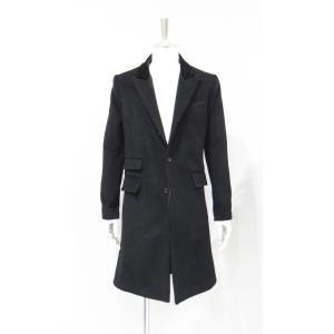 コート メンズ チェスターコート カシミヤ ロング 黒 サイズ S 44|queenandking
