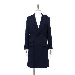 コート メンズ チェスターコート カシミヤ ロング ジャケット ダブル 紺 S 44 サイズ|queenandking