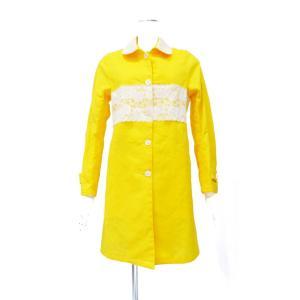 スプリングコート 黄色 イエロー レース 花柄 コート レディース ステンカラーコート Sサイズ  Mサイズ|queenandking
