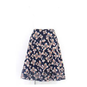 スカート 花柄 フレアー 裏地あり 膝丈 透かし 綿 コットン 100% ネイビー オレンジ 白 Mサイズ|queenandking