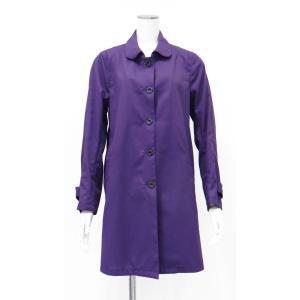 紫 パープル スプリングコート トップコート ステンカラーコート 丸襟 レディース コート S M サイズ|queenandking