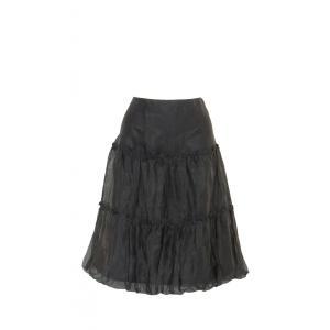 スカート 無地 Aライン 裏地あり シフォン フリル バルーン 裾 膝丈 黒 Mサイズ|queenandking