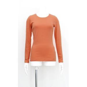 カットソー 無地 綿 コットン 100% 丸襟 長袖 オレンジ レディース Sサイズ|queenandking
