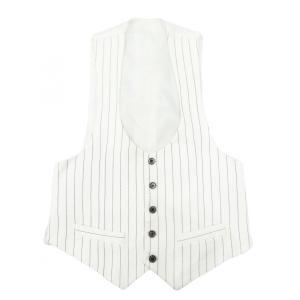 白 ストライプ メンズ ベスト ブランド Mサイズ|queenandking