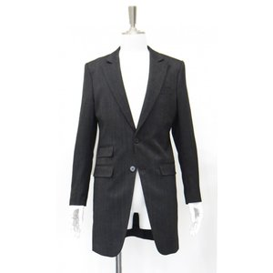 ロング ジャケット メンズ シングル センターベント グレー S 44 サイズ|queenandking