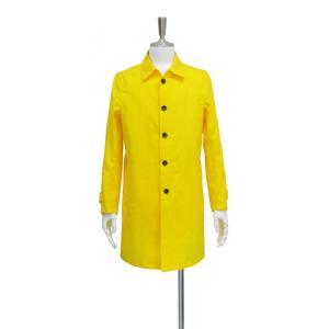コート メンズ ステンカラーコート スプリングコート 黄色 アウター 長袖 S ~ M サイズ|queenandking