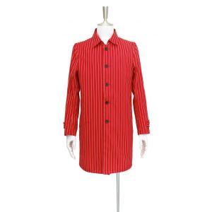 コート メンズ スプリングコート ステンカラーコート 赤 白 ストライプ  S サイズ|queenandking