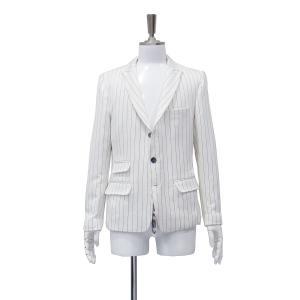 ジャケット シングル メンズ サイドベンツ 白 黒 ストライプ S 44 サイズ|queenandking
