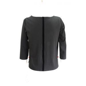 ボートネック 七分袖 カットソー メンズ Tシャツ 黒 トップス|queenandking