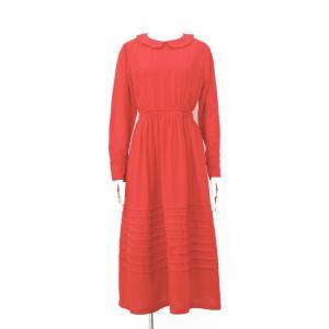 ワンピース ロング レディース ドレス 長袖 フレアー ギャザー 丸襟 襟 衿 赤 無地 ハイウエスト|queenandking