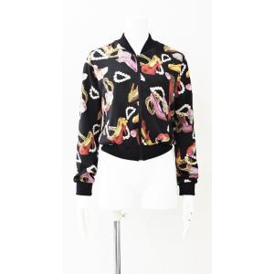 ジャケット リバース ボンバー ジャケット リバーシブル ユニセックス 黒 ゴールド ドット 水玉 シューズ ネックレス 柄|queenandking