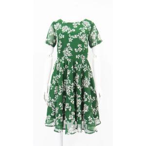 ワンピース ドレス フレアー 花柄 半袖 膝丈 Aライン シフォン 緑 レディース|queenandking