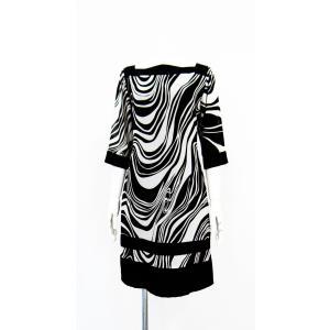 ワンピース ドレス 七分袖 膝丈 スクエアネック 白 黒 マーブル 柄 上品 清楚|queenandking