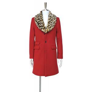 メンズ コート フェイクファー ヒョウ柄 赤 ロング シングル 襟 付け外し|queenandking