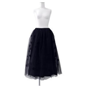 スカート レディース 4層 チュール ドット 水玉 スカート 黒 ブラック ウエスト ゴム Mサイズ ~ Lサイズ |queenandking