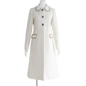 白 ウール コート レディース 丸襟 アウター ロング シャギーコート チェスターコート シングル|queenandking