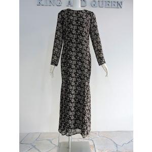 ワンピース 丸首 クルーネック 黒 白 花柄 シースルー ロング ドレス マキシ丈 長袖|queenandking