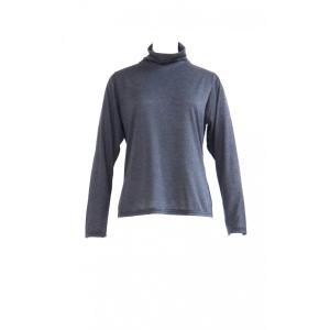 カットソー Tシャツ 長袖 グレー タートルネック レディース 無地 コットン 綿 トップス S M L サイズ|queenandking