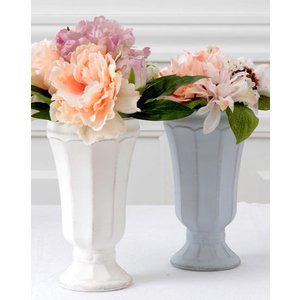 CERAMIC-VASE Country Gris et blanc フラワーベース Lサイズ 2色 240-163【陶器 おしゃれ 花瓶 花器 花材 資材 インテリア雑貨】|queenann-y