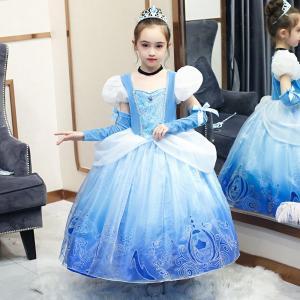 AD229ディズニープリンセス  シンデレラ キッズ子ども お姫様 コスチューム シンデレラドレス 子供用ドレス キッズドレス  なりきりワンピース プリンセスドレス|queenstylehayato