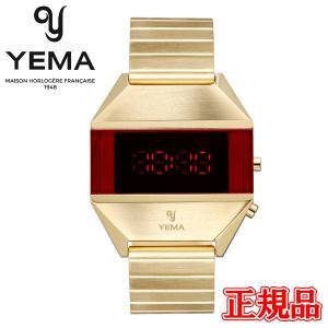 正規品 YEMA イエマ LED GOLD ゴールド クォーツ メンズ腕時計 YMHF1575-1AM|quelleheure-1