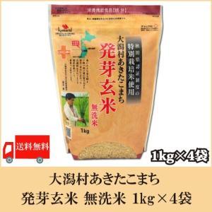 送料無料 大潟村あきたこまち 発芽玄米 無洗米 1kg × 4袋|quickfactory