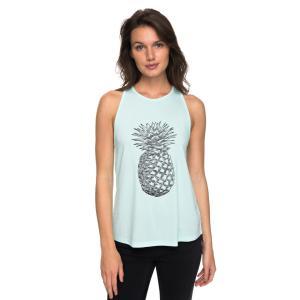 フロントのトロピカルなパイナップルプリントがアクセントのTシャツです。バックのレースの透け感が程よい...