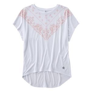 バンダナ柄をフロント衿周りにプリントした、ルーズなシルエットのTシャツです。薄手の柔らかな素材を使用...