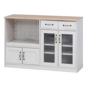 キッチンカウンター レンジ台 収納 スリム 食器棚 安い おしゃれ コンパクト キッチン レンジボード ガラス扉 引き出し 幅120 天板 木製 カウンター下収納 白|quoli