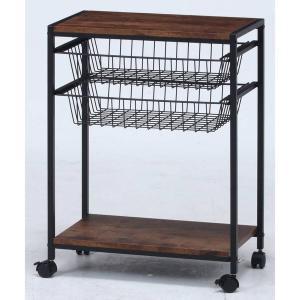 キッチンワゴン キャスター付き 2段 テーブル 天板 木製 スリム おしゃれ 作業台 安い コンパクト キッチン ワゴン 幅50 ロータイプ アイアン|quoli