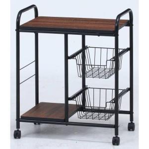 キッチンワゴン キャスター付き 2段 テーブル 天板 木製 スリム おしゃれ 作業台 安い コンパクト キッチン ワゴン 幅55 ロータイプ アイアン|quoli