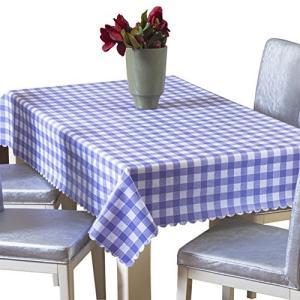 テーブルクロス ビニール チェック 撥水 滑り止め 北欧 PVC 152x152cm ブルーの画像