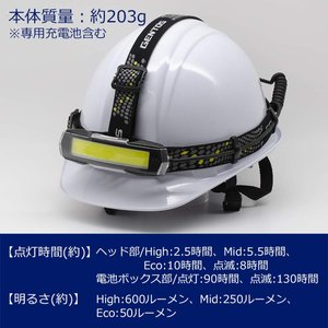 GENTOS(ジェントス) LED ヘッドライト USB充電式 明るさ600ルーメン/実用点灯2.5時間/COB(発光面)LED/後部認識灯|r-ainet