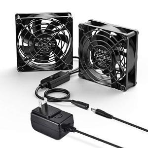 ELUTENG DC ファン 8cm 2連 12V 1A 静音 3段階風量調節 冷却クーラー 小型 扇風機 PC 冷却ファン 電源アダプタ付 r-ainet