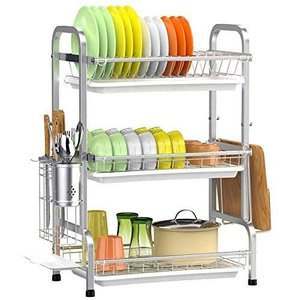 Impetus 水切りラック 3段式 304ステンレス製 大容量 食器 水切りかご 箸立て 包丁スタンド まな板立て 組み立て簡単 日本企業|r-ainet