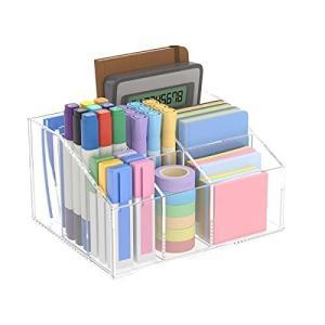 NIUBEE アクリル 透明 7格仕切り デスクオーガナイザー ペン立て 卓上収納ボックス 多機能筆箱 ペンスタンド リモコンスタンド クリ|r-ainet