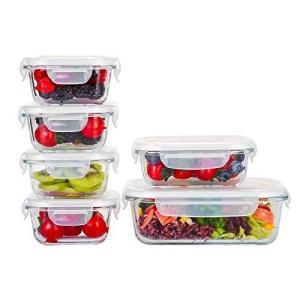 Doonmi?耐熱ガラス保存容器、BPAフリーの蓋付き、食品級材質の食品容器、6点組セット(370ML*1個,1040ML*1個, 310M|r-ainet