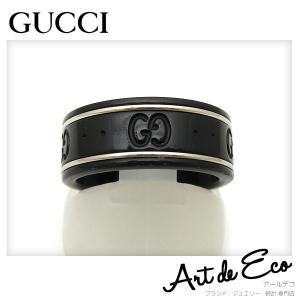 グッチ GUCCI 指輪 GG アイコンリング シンバンド ブラックコランダム  K18WG 7.5号 ブランド メンズ レディース おすすめ 中古 美品|r-deco-online