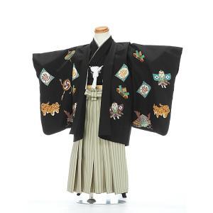 七五三レンタル 3歳 男の子 袴 着物 黒系 IAO3035|r-kimonoshop