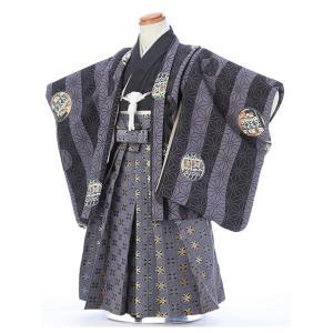 七五三レンタル 3歳 男の子 袴 着物 黒系 IAO3056|r-kimonoshop