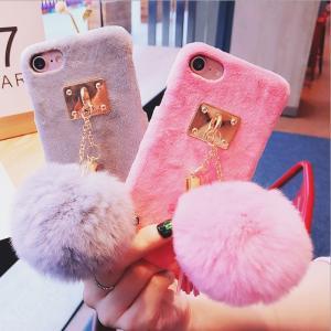 ボンボン ケース iPhone7 ファー付 iPhoneケース iphone6 iphone6s カバー キーホルダー|r-lotus