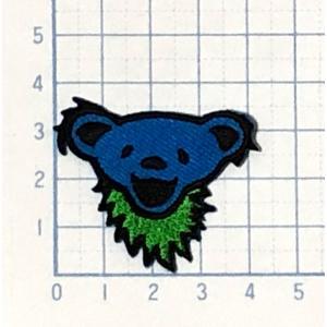 ミニサイズワッペン かわいいデッドベア ブルー【動物(どうぶつ) ワッペン 刺繍 アイロンワッペン】