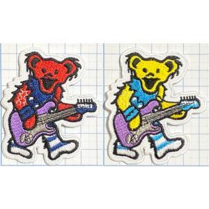 ギターを持った デッドベア 縁抜き型 【動物(どうぶつ) ワッペン 刺繍 アイロンワッペン】