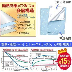 窓用 断熱・遮光カーテン 遮光率100% 2枚組 リーフ柄 ブルー‐アルミ カーテン 遮光シート カーテンレール 遮光カーテン 断熱シート|rabbit-sakura