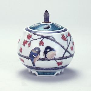 4号香炉 蔓梅もどきに四十雀 |米寿 プレゼント 金婚式 陶器 還暦祝い 退職祝 結婚祝い 贈り物 ペア 夫婦 誕生日 プレゼント 古希 喜寿 祝い||rachael