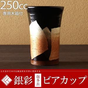 九谷焼 ビールグラス ビアカップ 銀彩 250cc 蜜柑  陶器 退職祝い 結婚祝い 父の日 プレゼント|rachael