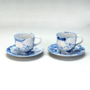 ペアコーヒー 染付椿  米寿 プレゼント 金婚式 陶器 還暦祝い 退職祝 結婚祝い 贈り物 ペア 夫婦 誕生日 プレゼント 古希 喜寿 祝い  rachael
